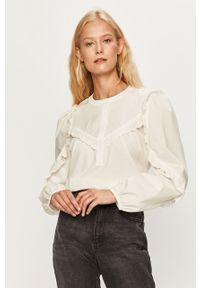 Biała bluzka Jacqueline de Yong casualowa, krótka, z długim rękawem