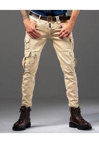 GUNS & TUXEDOS - Beżowe spodnie z kieszeniami Foxbat. Kolor: beżowy. Materiał: tkanina, elastan, bawełna. Styl: elegancki