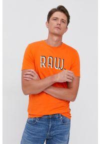 G-Star RAW - G-Star Raw - T-shirt bawełniany. Kolor: pomarańczowy. Materiał: bawełna. Wzór: nadruk