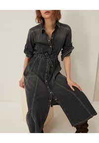 Marella - MARELLA - Denimowa sukienka midi Tonaca. Okazja: na co dzień. Kolor: czarny. Materiał: denim, bawełna. Typ sukienki: koszulowe, rozkloszowane. Styl: casual. Długość: midi