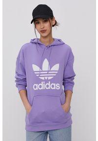 adidas Originals - Bluza bawełniana. Kolor: fioletowy. Materiał: bawełna. Wzór: nadruk