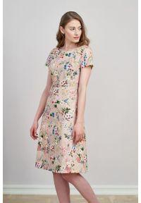 Marie Zélie - Sukienka Asteria Cosmo. Materiał: bawełna, skóra, materiał, elastan. Wzór: gładki. Typ sukienki: trapezowe. Styl: klasyczny