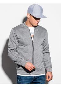 Szara bluza Ombre Clothing sportowa, bez kaptura, melanż