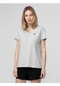 4f - T-shirt damski. Kolor: szary. Materiał: bawełna