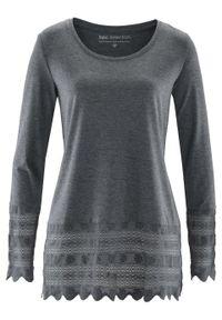 Długi shirt z koronką bonprix szary melanż. Kolor: szary. Materiał: koronka. Długość: długie. Wzór: melanż, koronka