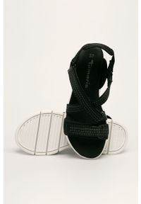 Czarne sandały Tamaris na średnim obcasie, na rzepy