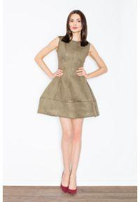 Oliwkowa sukienka Figl elegancka