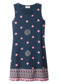 Niebieska sukienka bonprix z nadrukiem, na lato