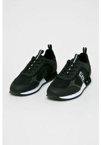 Czarne sneakersy EA7 Emporio Armani na sznurówki, z okrągłym noskiem