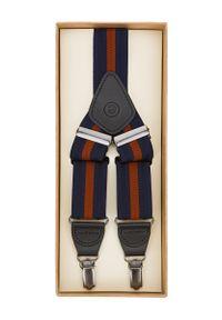 Lancerto - Szelki w Granatowo-Ceglaste Pasy. Kolor: niebieski, czerwony, wielokolorowy. Materiał: syntetyk, skóra, materiał, elastan