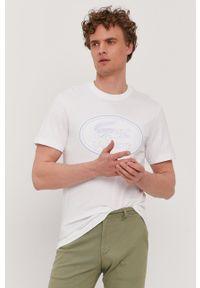 Lacoste - T-shirt. Okazja: na co dzień. Kolor: biały. Wzór: aplikacja. Styl: casual