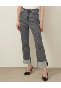 Marella - MARELLA - Szare jeansy mom-fit. Stan: podwyższony. Kolor: szary