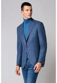 Lancerto - Marynarka Niebieska w Kratę Adaria. Typ kołnierza: golf. Kolor: niebieski. Materiał: bawełna, tkanina, wełna. Sezon: jesień, zima