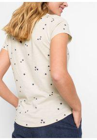 Shirt w gwiazdy bonprix beżowo-szaro-ciemnoniebieski z nadrukiem. Kolor: szary. Długość rękawa: krótki rękaw. Długość: krótkie. Wzór: nadruk