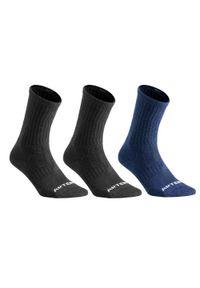 ARTENGO - Skarpety sportowe tenis RS500 HIGH 3 pary. Kolor: niebieski, wielokolorowy, szary, turkusowy. Materiał: elastan, poliamid, bawełna, poliester. Wzór: ze splotem. Sport: tenis
