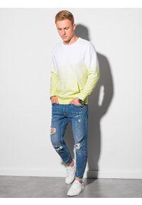 Ombre Clothing - Bluza męska bez kaptura B1150 - limonkowa - XXL. Typ kołnierza: bez kaptura. Materiał: bawełna. Wzór: gradientowy. Sezon: lato