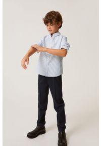 Niebieska koszula Mango Kids na co dzień, długa, z klasycznym kołnierzykiem