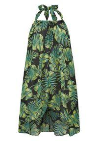 Sukienka plażowa z dekoltem halter bonprix czarno-zielono-żółty w roślinny wzór. Okazja: na plażę. Typ kołnierza: dekolt halter. Kolor: czarny. Wzór: aplikacja, nadruk