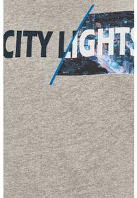 Szara bluza nierozpinana PRODUKT by Jack & Jones casualowa, z nadrukiem, na co dzień