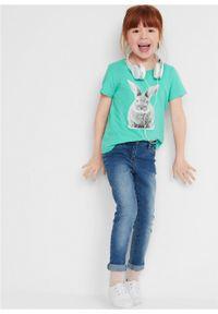 Zielona bluzka bonprix z krótkim rękawem, z nadrukiem, krótka