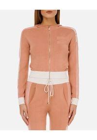 Elisabetta Franchi - ELISABETTA FRANCHI - Różowa bluza z kapturem. Typ kołnierza: kaptur. Kolor: różowy, wielokolorowy, fioletowy. Materiał: tkanina, wiskoza, dresówka