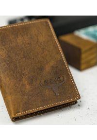 BUFFALO WILD - Skórzany portfel męski j. brązowy Buffalo Wild RM-03-HBW TAN. Kolor: brązowy. Materiał: skóra