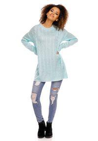 Sweter z długim rękawem, gładki, długi