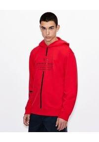 Armani Exchange - ARMANI EXCHANGE - Czerwona bluza z kapturem. Typ kołnierza: kaptur. Kolor: czarny. Materiał: materiał. Wzór: paski. Styl: sportowy