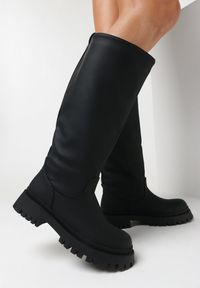 Born2be - Czarne Kozaki Chenerena. Nosek buta: okrągły. Kolor: czarny. Materiał: jeans, skóra. Styl: klasyczny
