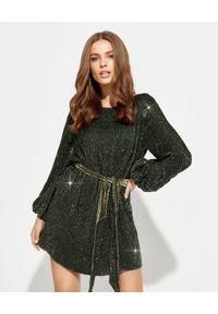 RETROFETE - Sukienka z cekinami Grace. Kolor: zielony. Długość rękawa: długi rękaw. Wzór: aplikacja. Typ sukienki: kopertowe. Długość: mini
