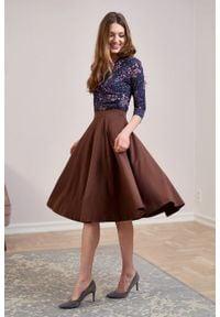 Marie Zélie - Spódnica Farin czekoladowa. Kolor: brązowy. Materiał: jersey, bawełna, dzianina, materiał, elastan, skóra, guma