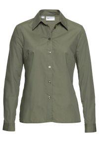 Bluzka bonprix oliwkowy. Typ kołnierza: kołnierzyk klasyczny. Kolor: zielony