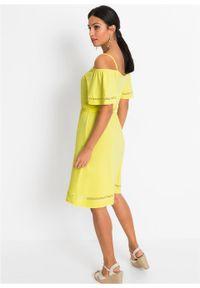 Sukienka z dżerseju z wycięciami LENZING™ ECOVERO™ bonprix jasna limonka. Kolor: żółty. Materiał: jersey