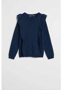 Niebieski sweter Mango Kids casualowy, na co dzień