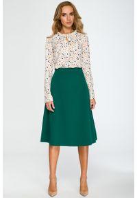 e-margeritka - Elegancka rozkloszowana spódnica midi zielona - m. Okazja: na sylwestra, do pracy, na spotkanie biznesowe. Kolor: zielony. Materiał: wiskoza, materiał, elastan, koronka, poliester. Długość: do kostek. Wzór: gładki. Styl: elegancki