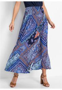 Spódnica kopertowa bonprix niebiesko-brązowy wzorzysty. Kolor: niebieski. Długość: długie #5