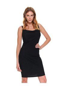 Czarna sukienka TOP SECRET w kolorowe wzory, na zimę, z klasycznym kołnierzykiem