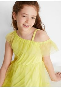Sukienka dziewczęca one-shoulder na uroczyste okazje bonprix żółty kremowy. Kolor: żółty