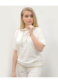 Deha - DEHA - Biała bluza z kapturem i krótkim rękawem. Typ kołnierza: kaptur. Kolor: biały. Materiał: bawełna, dzianina, prążkowany. Długość rękawa: krótki rękaw. Długość: krótkie