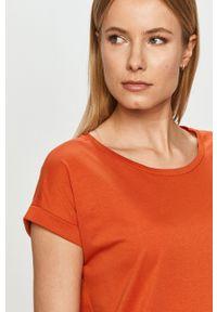 Vila - Sukienka. Okazja: na co dzień. Kolor: pomarańczowy. Materiał: dzianina, bawełna. Długość rękawa: krótki rękaw. Wzór: gładki. Typ sukienki: proste. Styl: casual