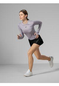 Czarne spodenki sportowe 4f na fitness i siłownię, z nadrukiem