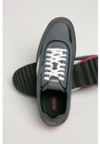 Niebieskie sneakersy Hugo z cholewką, z okrągłym noskiem, na sznurówki