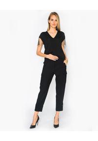 CRISTINAEFFE - Czarna bluzka z cyrkoniami. Kolor: czarny. Materiał: materiał. Styl: klasyczny