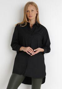 Born2be - Czarna Koszula Alcenia. Kolor: czarny. Materiał: jeans, skóra. Długość: długie