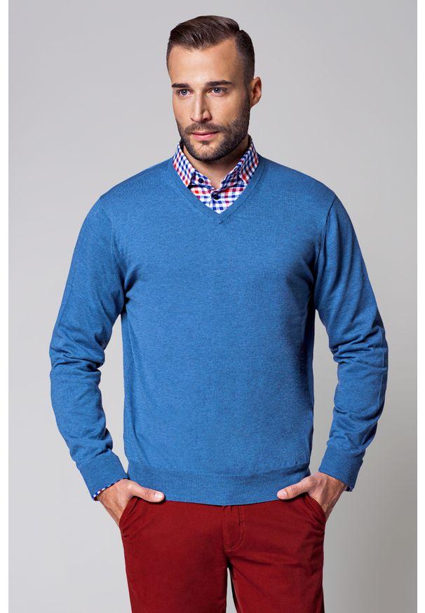Niebieski sweter Lancerto w kolorowe wzory, na jesień