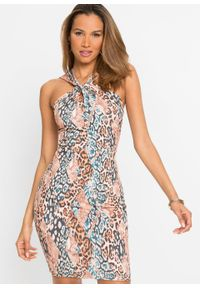 Sukienka z dekoltem halter bonprix brązowo-czarno-beżowy - leo. Typ kołnierza: dekolt halter. Kolor: brązowy. Wzór: nadruk. Długość: mini