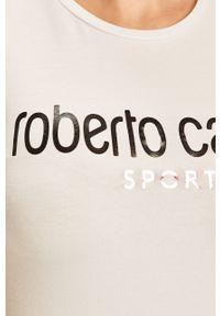 Biała bluzka ROBERTO CAVALLI SPORT z nadrukiem, sportowa, na co dzień