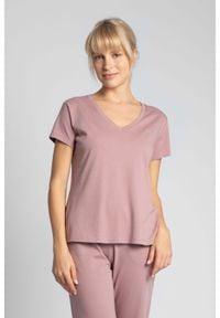 MOE - Bawełniana Koszulka do Spania z Krótkim Rękawem - Wrzosowy. Kolor: fioletowy. Materiał: bawełna. Długość: krótkie