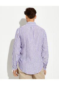 Ralph Lauren - RALPH LAUREN - Lniana koszula w prążki Custom Fit. Typ kołnierza: button down, polo. Kolor: biały. Materiał: len. Wzór: prążki #4