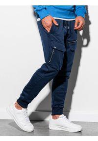 Ombre Clothing - Spodnie męskie dresowe joggery P905 - granatowe - XL. Kolor: niebieski. Materiał: dresówka